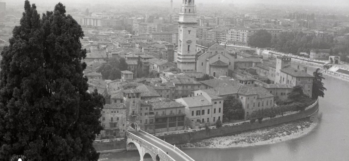 83-07-037 Verona: view over part of the city from Castel San Pietro