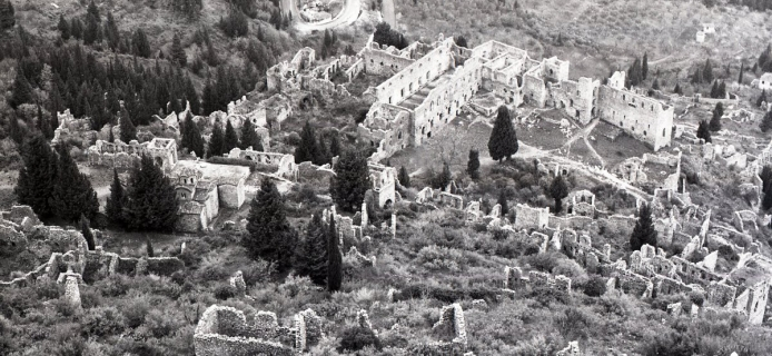 83-25-007 Mistra: looking down from Frankish Castle: toward the Palace of the Despotes